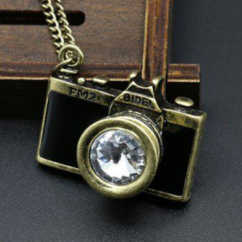 Rhinestone False Camera Pendant Sweater Chain
