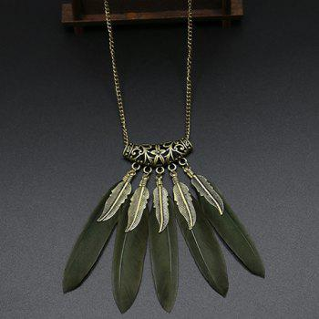 Elegant Carving Leaf Faux Feather Sweater Chain For Women