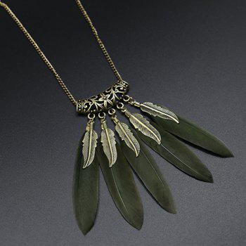 Elegant Carving Leaf Faux Feather Sweater Chain For Women - BLACKISH GREEN