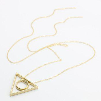 Elegant Triangle Ring Alloy Sweater Chain For Women - GOLDEN