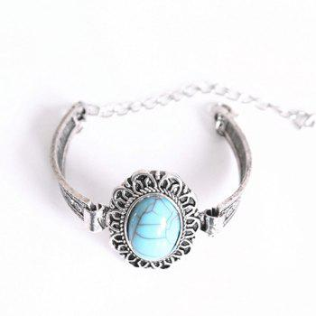 Faux Turquoise Alloy Cuff Bracelet - SILVER