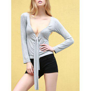 Sexy Women's Plunging Neck Long Sleeve Self-tie T-Shirt