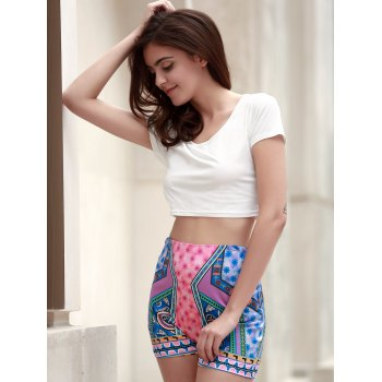 Chic Short Sleeve Scoop Neck T-Shirt +High-Waisted Printed Shorts Women's Twinset - WHITE M