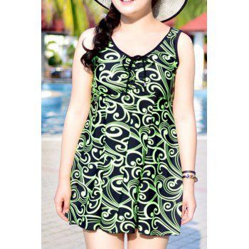 Chic Sleeveless Print One-Piece Dress Swimwear For Women