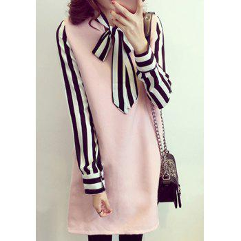 Casual Long Sleeve Bow Neck Striped Plus Size Women's Dress