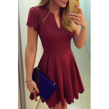 Retro Style V Neck Short Sleeves Pleated Women's Dress