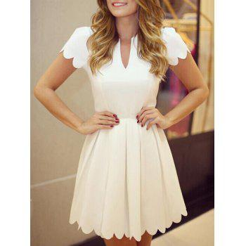 V Neck Short Sleeves Pleated Dress