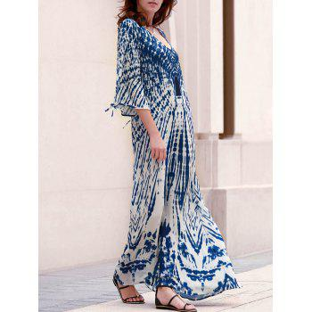 Stylish Women's Plunging Neck Split Sleeve Printed Maxi Dress