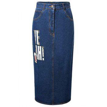 Chic High-Waisted Letter Print Slit Design Women's Denim Maxi Skirt