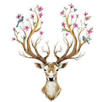 Fashion Removable Sika Deer Pattern Wall Stickers For Living Room Bedroom Decoration - LIGHT BROWN