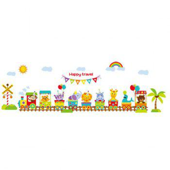 Fashion Removable Cartoon Animals Train Pattern Wall Stickers For Children's Bedroom - COLORFUL