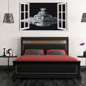 Fashion Removable Spaceship Window Pattern 3D Wall Stickers For Living Room Bedroom Decoration - COLORMIX