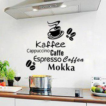 Fashion Removable Coffee Letter Pattern Wall Stickers For Kitchen Restaurant Decoration - BLACK