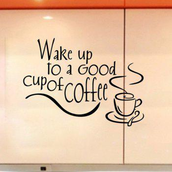 Fashion Coffee Letter Pattern Wall Stickers For Kitchen Restaurant Decoration - BLACK