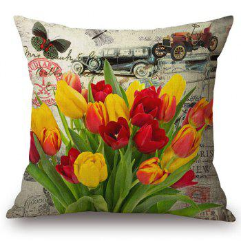 Chic Tulip and Butterflies Pattern Square Shape Flax Pillowcase (Without Pillow Inner)