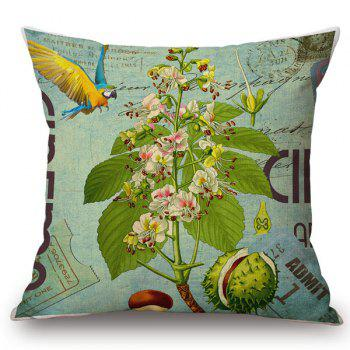 Buy Chic Plants Bird Pattern Square Shape Flax Pillowcase (Without Pillow Inner) COLORMIX