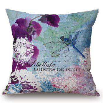 Chic Dandelion and Dragonfly Pattern Square Shape Flax Pillowcase (Without Pillow Inner)