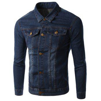 Turn-Down Collar Pockets Design Long Sleeve Men's Denim Jacket