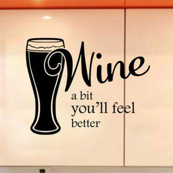 Fashion Wine Letter Pattern Wall Stickers For Kitchen Restaurant Decoration