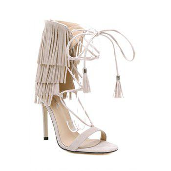 Trendy Fringe and Lace-Up Design Sandals For Women