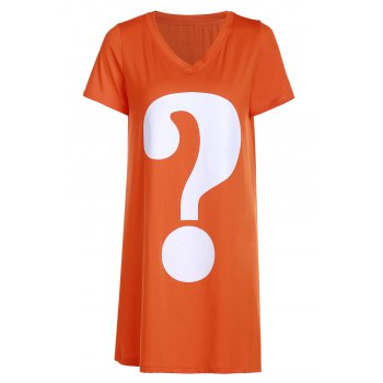 Casual Short Sleeve Question Mark Print Women's Long T-Shirt