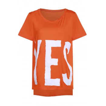 Casual Round Neck Short Sleeve YES Print Women's High Low T-Shirt