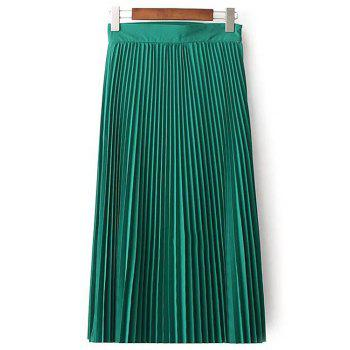 Stylish High Waist Solid Color Pleated Women's Skirt