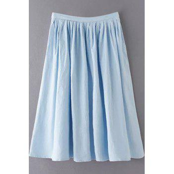 Stylish High Waist A-Line Solid Color Pleated Women's Skirt