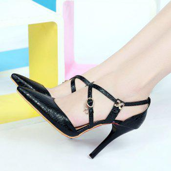 Stylish Cross Straps and Embossing Design Women's Pumps - BLACK 36