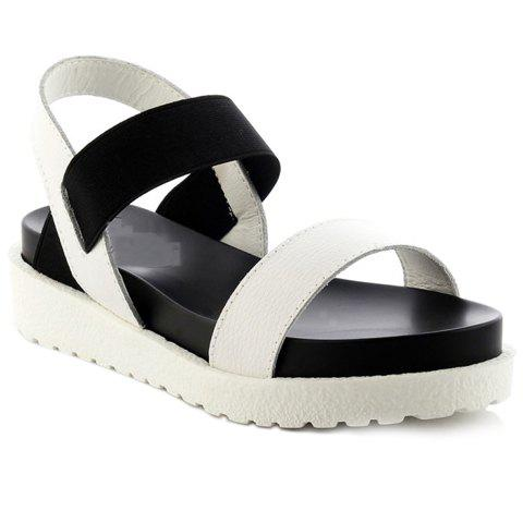 Leisure Solid Colour and Elastic Band Design Women's Sandals - WHITE 38