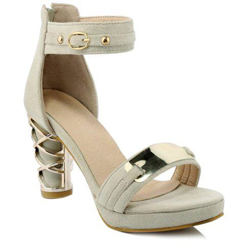Stylish Metallic and Zipper Design Women's Sandals - OFF WHITE 37