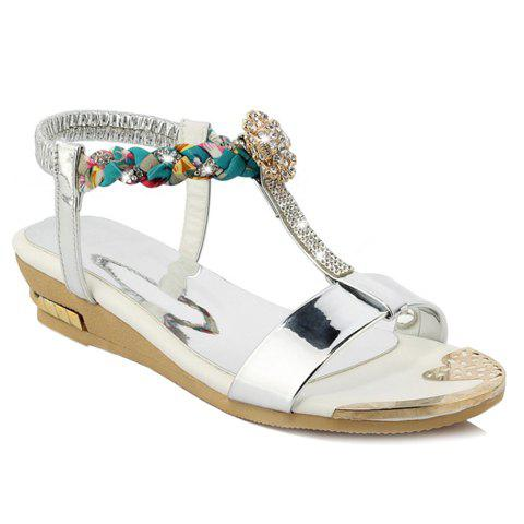 Stylish Rhinestones and Weaving Design Women's Sandals - SILVER 39