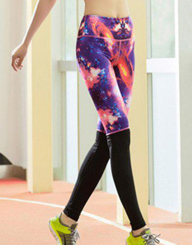Active Style Elastic Waist Skinny Galaxy Spliced Women's Yoga Pants - COLORMIX XL