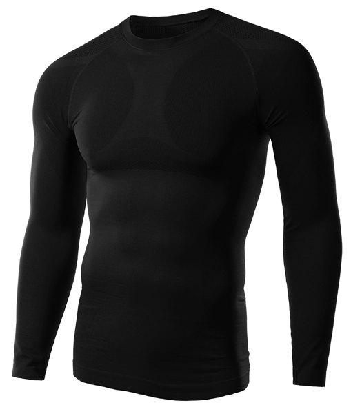 Solid Color Fitted Round Neck Long Sleeve Men's T-Shirt - BLACK M
