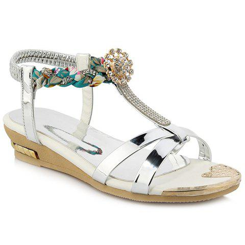 Fashionable Weaving and T-Strap Design Women's Sandals - 37 SILVER
