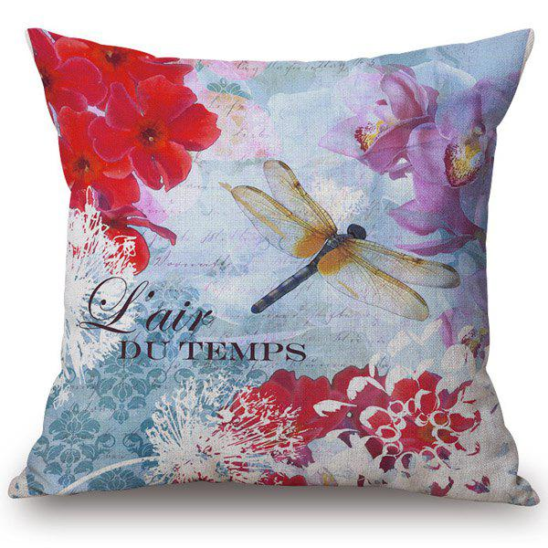 Chic Dandelion and Dragonfly Pattern Square Shape Flax Pillowcase (Without Pillow Inner)Home<br><br><br>Color: RED