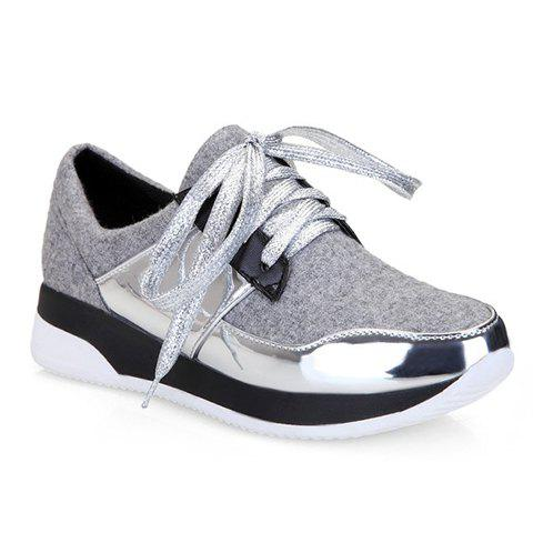 Trendy Splicing and Suede Design Women's Athletic Shoes - LIGHT GRAY 37