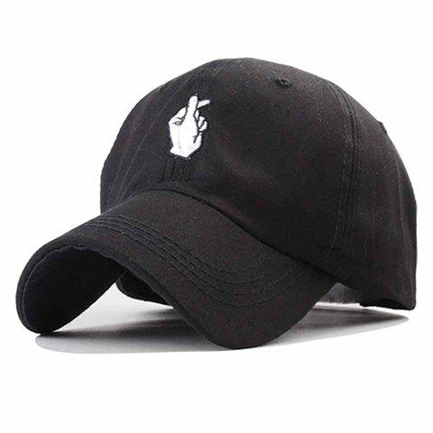 Trendy Gesture Letters Embroidery Solid Color Baseball Hat For Women - BLACK