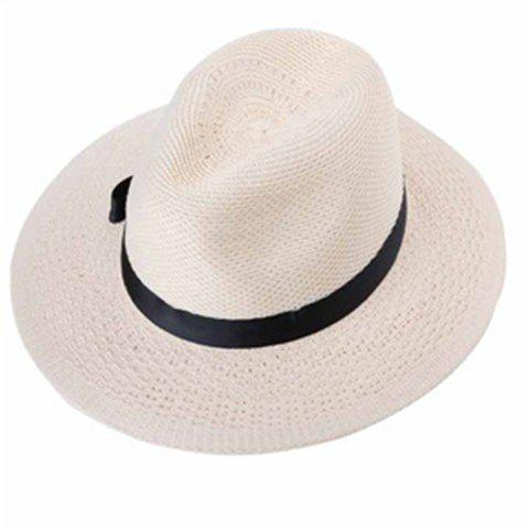 Chic Bow Ribbon Embellished Women's Weaving Straw Hat - OFF WHITE