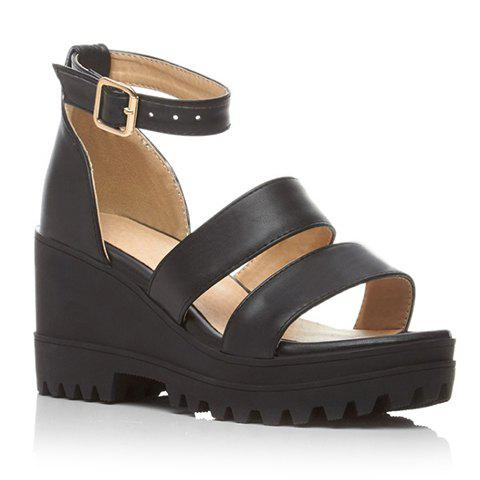 Trendy Platform and Ankle Strap Design Women's Sandals - BLACK 34