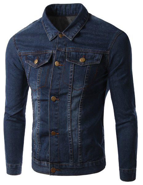 Turn-Down Collar Pockets Design Long Sleeve Men's Denim Jacket - DEEP BLUE M