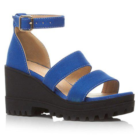 Stylish Wedge Heel and Canvas Design Women's Sandals - BLUE 36