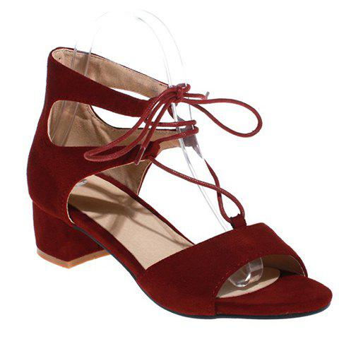 Stylish Chunky Heel and Lace-Up Design Women's Sandals - WINE RED 39