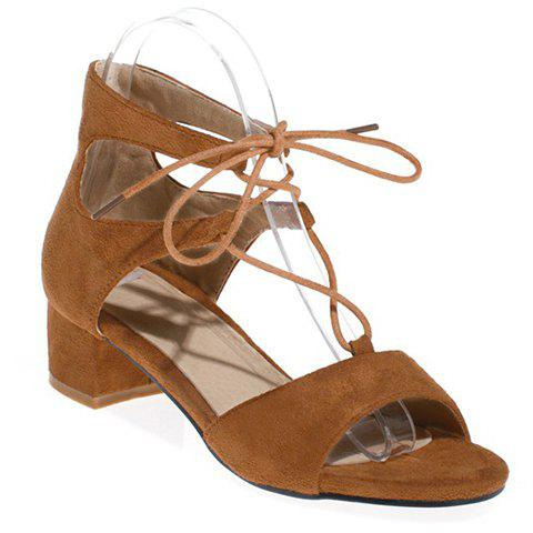 Stylish Chunky Heel and Lace-Up Design Women's Sandals - BROWN 37