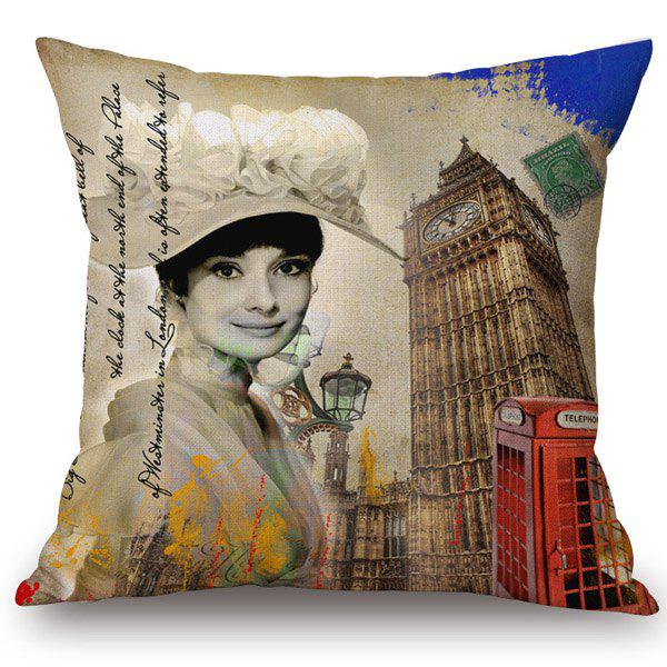 Buy Chic Audrey Hepburn Big Ben Pattern Square Shape Flax Pillowcase (Without Pillow Inner) COLORMIX