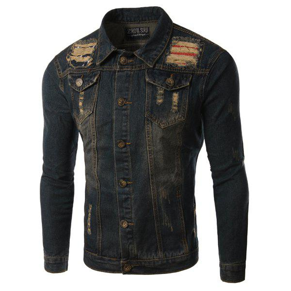 Turn-Down Collar Pockets Holes and Cat's Whisker Design Long Sleeve Men's Denim Jacket