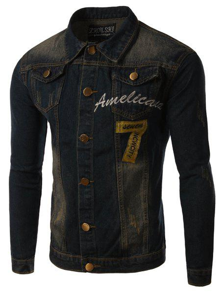 Turn-Down Collar Pockets Design Letter Embroidery and Applique Long Sleeve Men's Denim Jacket