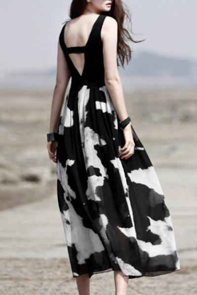 Trendy Sleeveless Scoop Neck Hollow Out Printed Spliced Women's Dress - WHITE/BLACK S
