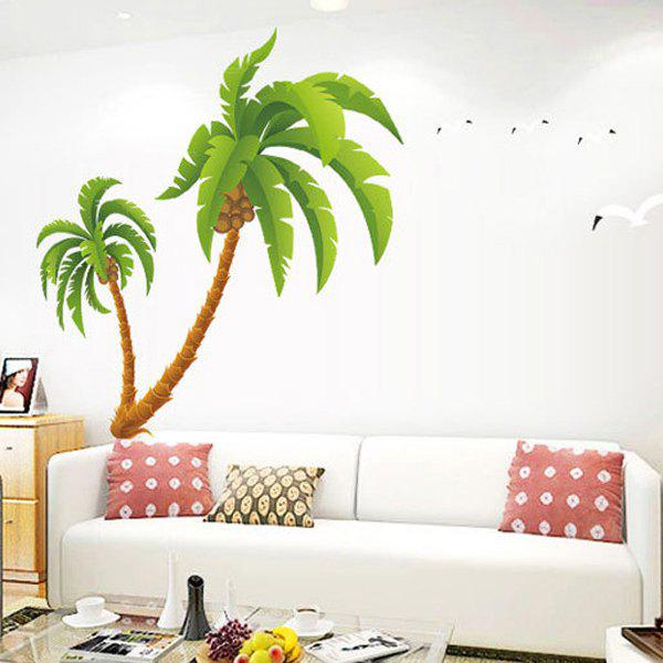 Fashion Removable Waterproof Coconut Palm Pattern Wall Stickers For Living Room Bedroom Decoration - GRASS GREEN