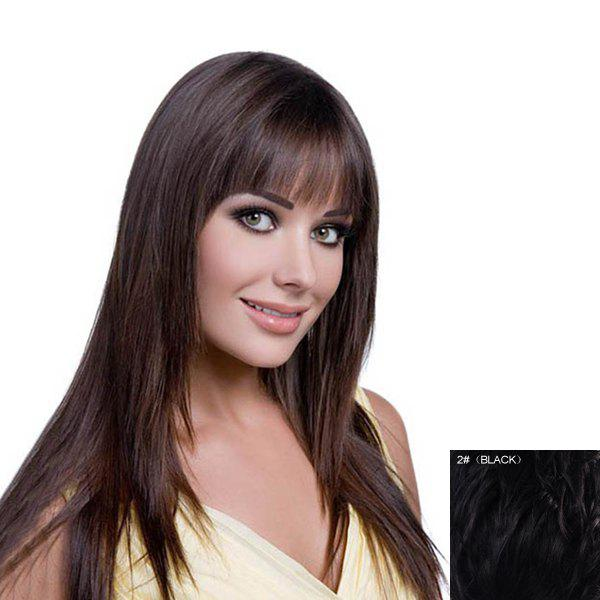 Women's Fluffy Straight Human Hair Long Full Bang Wig - BLACK